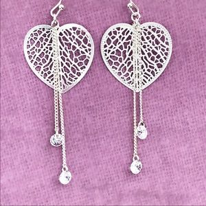 LC Lauren Conrad Heart Filigree Drop Earrings